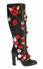 NEW DOLCE & GABBANA Boots Shoes Roses Crystal Gold Heart Leather EU39 / US8.5