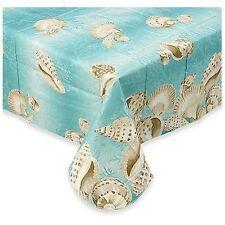Seashell Vinyl Umbrella Tablecloth 60 X 84 Oblong With Hole & Zipper NIP