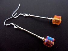 A PAIR OF AMBER CUBE CRYSTAL BEAD EARRINGS WITH 925 SOLID SILVER HOOKS. NEW.