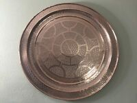 "Huge Vintage Islamic Middle East Hand Chased Copper Table Tray/Wall Deco, 34"" D"