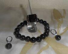 Bague (taille 51) + bracelet + BO en argent 925 et quartz fumé , NEUFS