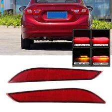 2PC LED Rear Bumper Reflector Tail DRL Brake Light For Chevrolet Cruze 2017-2018