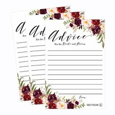 50 4x6 Floral Wedding Advice & Well Wishes For The Bride and Groom Cards, Rec...