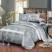 Silk Cotton Satin Luxury Jacquard Bedding Set Bedclothes Duvet Cover Bed Sheet