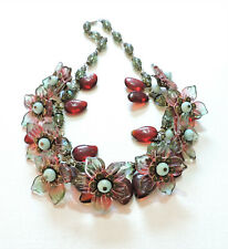 Vintage Red Green Flowers Leaves Lampwork Art Glass Bead Necklace Au20Bn16