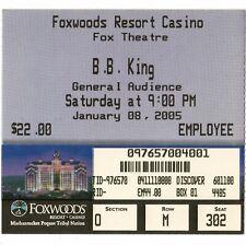 BB KING Concert Ticket Stub MASHANTUCKET CT 1/8/05 FOXWOODS RESORT CASINO Rare