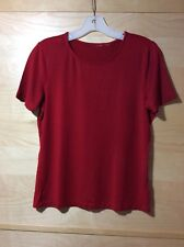 Knit Top/Shirt Women Red Short Sleeves M, Pre-owned