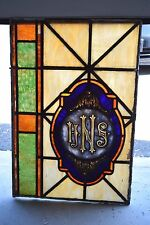 """+ 100 Year Old Stained Glass Church Window + """"I.H.S."""" + chalice co. + (#15)"""