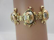 14K Tricolor Gold Turtle Bracelet Movable Head Feet Ruby CZ tortoise