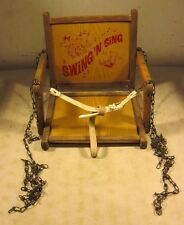 Vintage Wooden Swing N Sing Children's Outdoor Swing Chair Chain Hanging