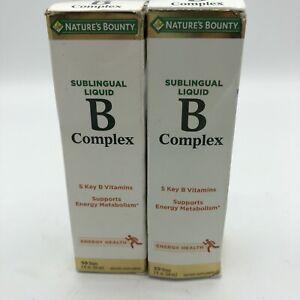 Nature's Bounty Sublingual Liquid B Complex 2 Oz Lot of 2