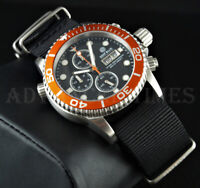 DEEP BLUE 40mm Orange Bezel Black Dial Diver 1000 SAPPHIRE Watch w/ Extra Strap