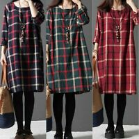 UK Ladies Check Blouse Women Long Sleeve Jersey Loose Tunic Top Shirt Dress Size