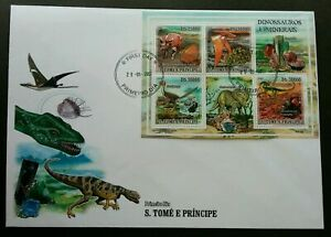 [SJ] Sao Tome Dinosaurs And Minerals 2000 Prehistoric Stone (miniature FDC B)