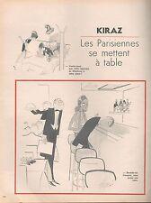 ▬► Dessin Humoristique KIRAZ  Les Parisiennes se mettent à table 2 pages 1972