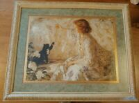 "Home Interiors # 13664 Woman, Cat, Pearls Picture New in Box 34.5"" X 28"""