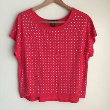 89th & Madison Womens Embellished Pullover Top Size M Drop Sleeve Orange NWOT