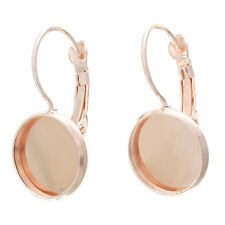 200 rose gold plated cabochon bezel lever back earrings fits 12mm fin0471b
