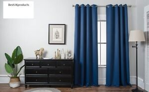 Thermal Blackout Ready Made Back Tab Rod Pocket Pair Curtains Panel UK STOCK