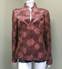 VTG COMPANY ELLEN TRACY Brown Floral Embroidered Print Jacket~Size 10
