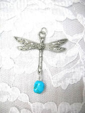 HAND ENGRAVED DRAGONFLY & BLUE TURQUOISE GEM DANGLING PEWTER PENDANT NECKLACE
