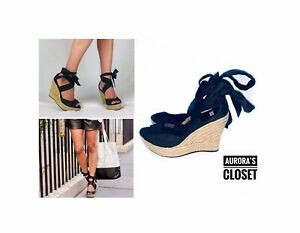 UGG 7.5 Black Wedge Sandals Lucianna Silk Jute 1002916 $320