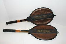 Vintage Wilson Advantage Wooden Tennis Strata Bow Racket With Original Cover Set