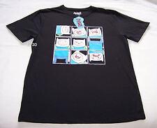 Adventure Time Mens Finn Squares Black Printed Short Sleeve T Shirt Size XXS New