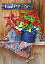 Patriotic Land That I Love Americana Crock Geranium Petunias Large Flag
