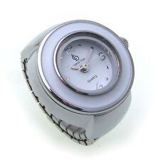 Ring Uhr sportlich weiß versilbert  Fingeruhr Quartzwerk Qualität Ringuhr