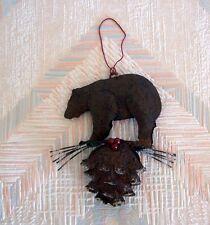 Bear Pine Cone Christmas String Ornament Metal Regal Art