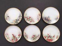 Set of 6 Hand Painted Porcelain Dessert Dishes Plates Fruit Scene Artist Signed