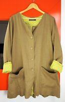 GUDRUN SJODEN SJÖDÉN Long Sleeve Button Front Linen Blend Lagenlook Jacket sz M