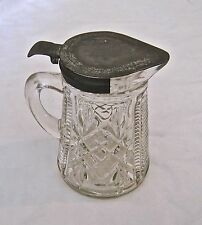 "Vintage Antique Syrup Pitcher Glass Metal Lid Small 4 3/8"" Tall"