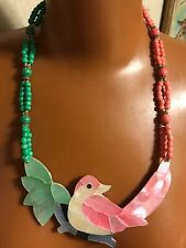 Vtg Mother of Pearl Shell Inlay Bird Necklace Statement Pastel