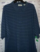 St. John's Bay Men's blue striped XXL POLO SHIRT short sleeve $40 top ribbed