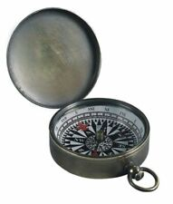 Compass with Hinged Lid, Antique Pocket Compass, Brass Bronzed