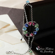 18K White Gold Plated Made With Swarovski Crystal Colorful Circle Heart Bracelet