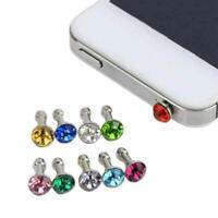 10x Bling Diamond Crystal 3.5MM Earphone Jack Anti Dust Plug Cap Stopper Cover