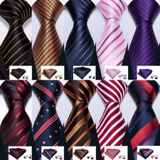 Striped Plaid Checks Tie Necktie Set Red Blue Black Gold Purple Silk Wedding USA