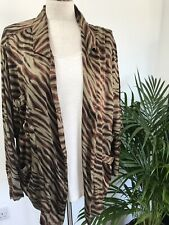 Rabens Saloner On Trend Animal Print Silky Jacket Khaki Small VGC