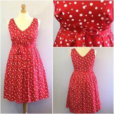 Papaya Ladies Red White Spotty 50s Retro Rockabilly Fit Flare Dress U.K. 18