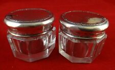 "Pair Sterling Silver Blackinton Cut Crystal Jars, c. 1910. 1 ¼"" t. 1 ½"" dia."