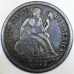 1877-CC Seated Liberty Dime Beautiful Coin Rare Date Full Liberty