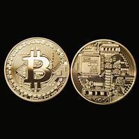 Gold Plated Physical Bitcoin Casascius Bit Coin BTC w/ Case Gift Decoration 1 OZ