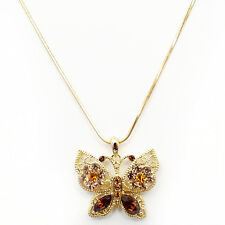 Butterfly Pendant Necklace Charm Austrian Crystals Brown Jewelry Gold Tone 16""