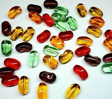 19x11mm Transparent Glass Jelly Bean Beads - Package of 10