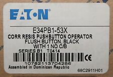 EATON CUTLER HAMMER E34PB1 53X Black Corrosion Resistant Push Button 1NO Contact