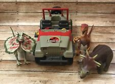 Jurassic Park Bush Devil Tracker Jeep Vehicle Kenner 1993 Incomplete With 3 Dino