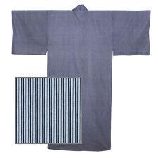 "Japanese Kimono Men's  58""L Yukata Navy Blue Stripe Pattern/ MADE JAPAN"